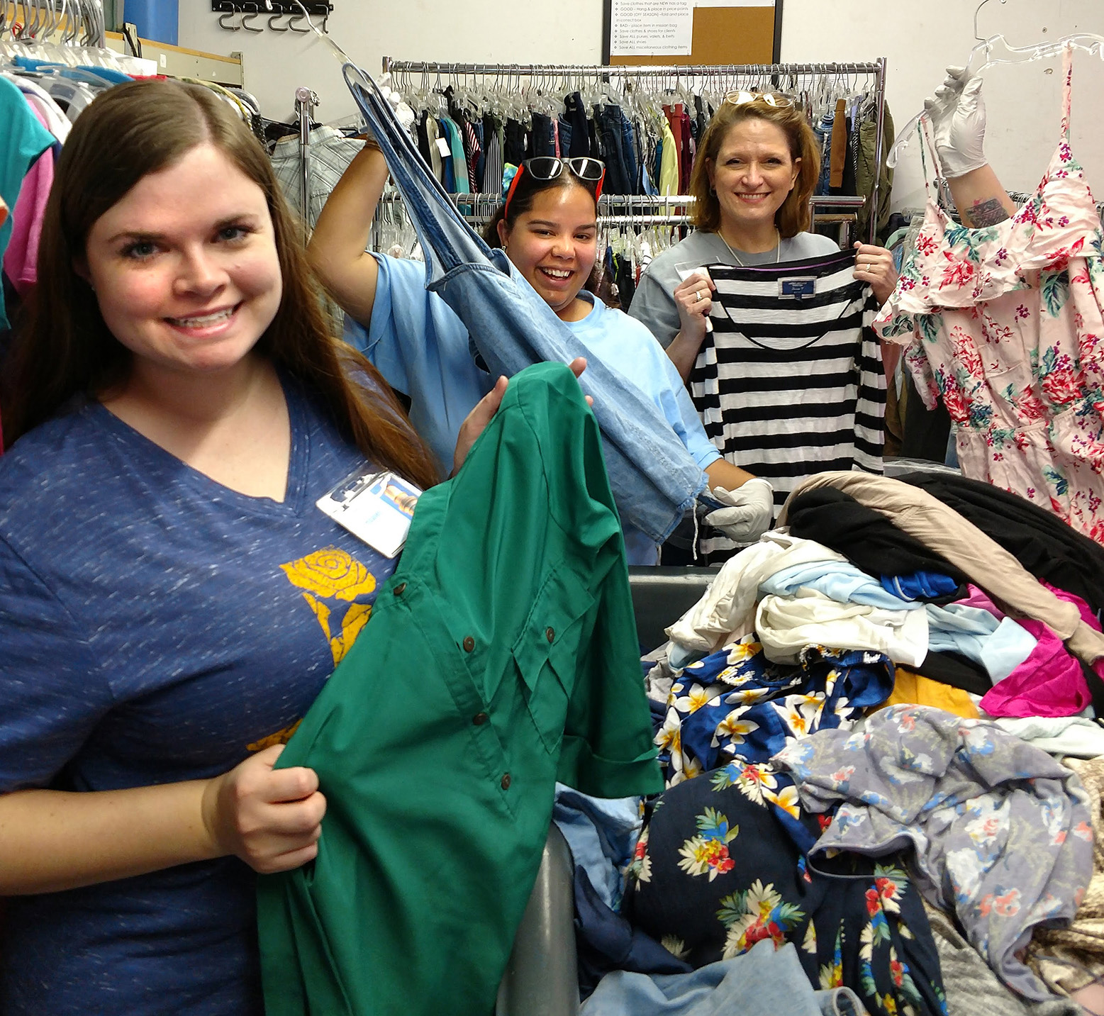 OPA alumnae sort clothes at a service project in Texas 2018
